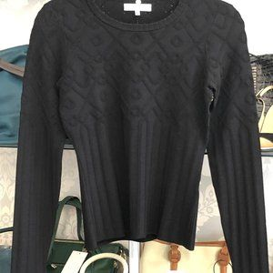 MILLY Black Cable Knit Crew Neck Stretchy Sweater